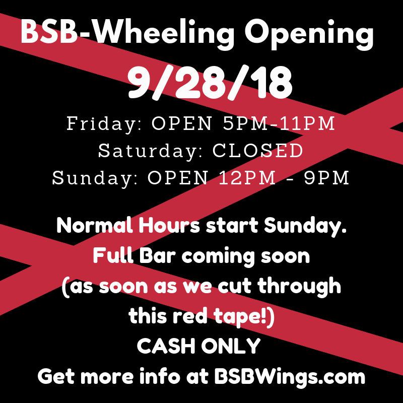 bsb wheeling opening friday, september 28, 2018 at 5PM
